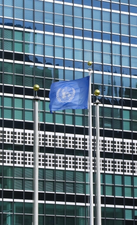 United Nations Flag in front of UN Headquarter in New York  photo
