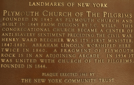 abolitionist: BROOKLYN, NY - JULY 13: Plymouth Church of the Pilgrims on July 13, 2013. Plymouth Church is an historic church in Brooklyn, The church was added to the National Register of Historic Places in 1961