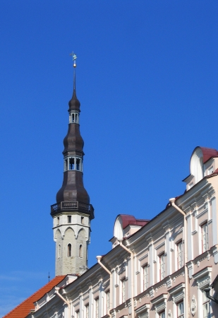 tallin: TALLINN, ESTONIA - AUGUST 9  Town Hall Spire with Old Tomas on top in Tallinn, Estonia on August 9, 2005 Old Thomas is one of the symbols and guardian of the city Tallinn, the capital of Estonia