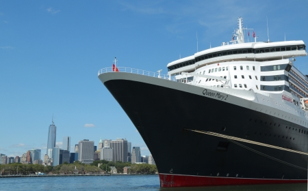 NEW YORK - AUGUST 15  Queen Mary 2 cruise ship docked at Brooklyn Cruise Terminal on August 15, 2013  Queen Mary 2 is Cunard s flagship ready for Transatlantic Crossing from New York to Southampton