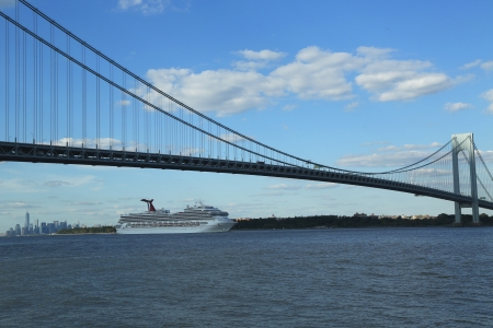newest: NEW YORK CITY - AUGUST 15  Carnival Glory Cruise Ship leaving New York on August 15, 2013 Carnival Glory is a Conquest-class cruise ship built in 2003 with capacity of 2974 passengers