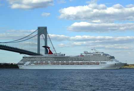 NEW YORK CITY - AUGUST 15  Carnival Glory Cruise Ship leaving New York on August 15, 2013 Carnival Glory is a Conquest-class cruise ship built in 2003 with capacity of 2974 passengers