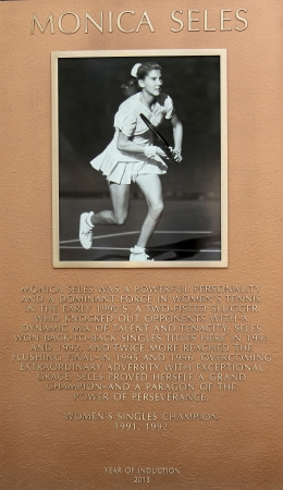 flushing: FLUSHING, NY - AUGUST 20  Monica Seles plaque at US Open Court of Champions at Billie Jean King National Tennis Center on August 20, 2013 in Flushing, NY