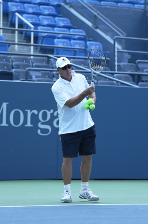 FLUSHING, NY - AUGUST 20  Eight times Grand Slam champion Ivan Lendl coaching Grand Slam champion Andy Murray for US Open at Louis Armstrong Stadium at Billie Jean King National Tennis Center on August 20, 2013 in Flushing, NY
