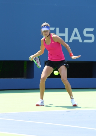 billie: FLUSHING, NY - AUGUST 20  Grand Slam champion Ana Ivanovich practices for US Open 2013 at Arthur Ashe Stadium at Billie Jean King National Tennis Center on August 20, 2013 in Flushing, NY