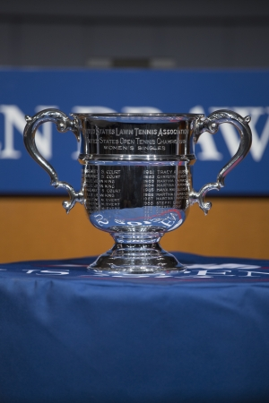 flushing: FLUSHING, NY - AUGUST 22  US Open Women singles trophy presented at the 2013 US Open Draw Ceremony in Flushing on August 22, 2013 Editorial