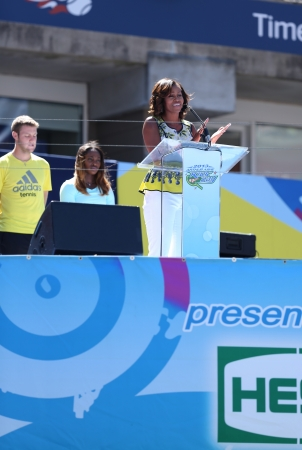 flushing: FLUSHING, NY - AUGUST 24  First Lady Michelle Obama Encourages Kids to Stay Active at Arthur Ashe Kids Day  at Billie Jean King National Tennis Center on August 24, 2013 in Flushing, NY