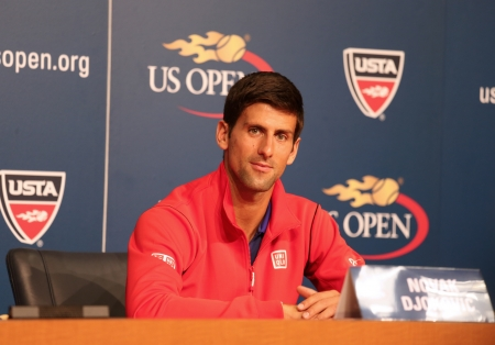 billie: FLUSHING, NY - AUGUST 24  Seven times Grand Slam champion Novak Djokovic  during press conference at Billie Jean King National Tennis Center on August 24, 2013 in Flushing, NY Editorial