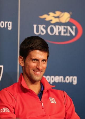 flushing: FLUSHING, NY - AUGUST 24  Seven times Grand Slam champion Novak Djokovic  during press conference at Billie Jean King National Tennis Center on August 24, 2013 in Flushing, NY Editorial