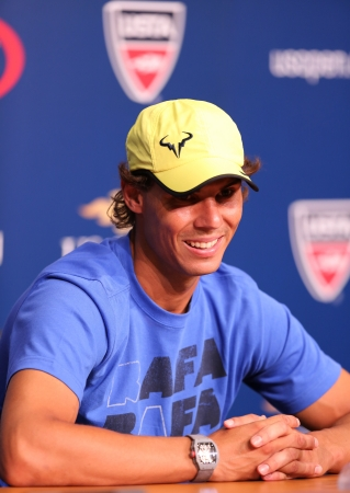 FLUSHING, NY - AUGUST 24   Twelve  times Grand Slam champion Rafael Nadal during press conference at Billie Jean King National Tennis Center on August 24, 2013 in Flushing, NY