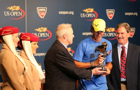 flushing: FLUSHING, NY - AUGUST 24  Twelve times Grand Slam champion Rafael Nadal during 2013 Emirates Airline US Open Series trophy presentation at Billie Jean King National Tennis Center on August 24, 2013 in Flushing, NY