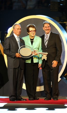 FLUSHING, NY - AUGUST 26  New York Mayor Michael Bloomberg,  Billie Jean King and USTA Chairman, CEO and President Dave Haggerty during US Open 2013 opening night ceremony at USTA Billie Jean King National Tennis Center on August 26, 2013  in Flushing, NY