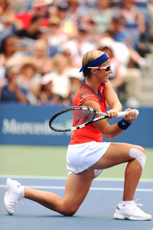 flushing: FLUSHING, NY - AUGUST 26   Professional tennis player Kirsten Flipkens from Belgium during her first round match against nine times Grand Slam champion Venus Williams at US Open 2013   on August 26, 2013 in Flushing, NY