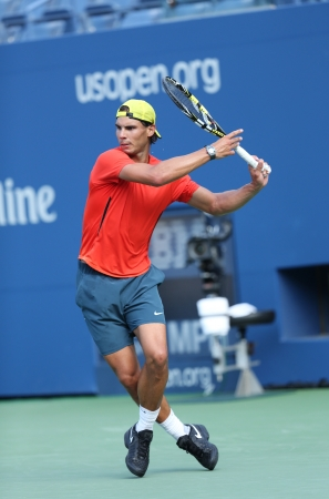 FLUSHING, NY - AUGUST 29    Twelve  times Grand Slam champion Rafael Nadal practices for US Open 2013 at Arthur Ashe Stadium  at Billie Jean King National Tennis Center on August 29, 2013 in Flushing, NY