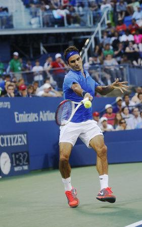FLUSHING, NY -SEPTEMBER 2  Seventeen times Grand Slam champion Roger Federer during his fourth round match at US Open 2013 against Tommy Robredo at Billie Jean King National Tennis Center on September 2, 2013 in Flushing, NY