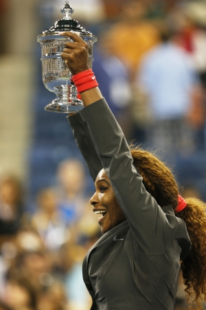 FLUSHING, NY - SEPTEMBER 8  Seventeen times Grand Slam champion and US Open 2013 champion Serena Williams holding US Open trophy after her final match win  against Victoria Azarenka at Billie Jean King National Tennis Center on September 8, 2013