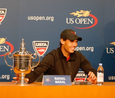 flushing: FLUSHING, NY - SEPTEMBER 9   Thirteen  times Grand Slam champion Rafael Nadal during press conference after he won US Open 2013 at Billie Jean King National Tennis Center on September 9, 2013 in Flushing, NY Editorial