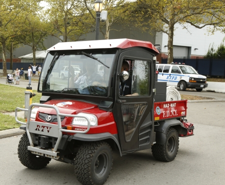 haz: FLUSHING, NY- SEPTEMBER 1  FDNY Haz-Mat Kubota RTV Utility Vehicle near National Tennis Center during US Open 2013 on September 1, 2013 in Flushing  FDNY is the largest combined Fire and EMS provider in the world