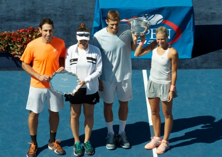 finalists: FLUSHING, NY - SEPTEMBER 6  US Open 2013 mixed doubles finalists Santiago Gonzalez and  Abigail Spears  left  and  champions Max Mirniy  and Andrea Hlavackova  during trophy presentation at Billie Jean King National Tennis Center on September 6, 2013