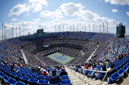 racket stadium: FLUSHING, NY -SEPTEMBER 8 Areal view of  Arthur Ashe Stadium at the Billie Jean King National Tennis Center during US Open 2013 tournament on September 8 ,2013 in Flushing, NY Editorial