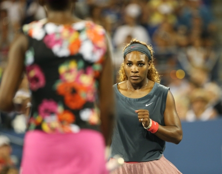 teammate: Sixteen times Grand Slam champion Serena Williams during her first round doubles match with teammate Venus Williams at US Open 2013