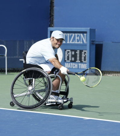 FLUSHING, NY - SEPTEMBER 5 Tennis player David Wagner from USA during his US Open 2013 wheelchair quad singles match at Billie Jean King National Tennis Center on September 5, 2013 in Flushing, NY