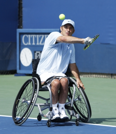 flushing: FLUSHING, NY - SEPTEMBER 5 Tennis player David Wagner from USA during his US Open 2013 wheelchair quad singles match at Billie Jean King National Tennis Center on September 5, 2013 in Flushing, NY