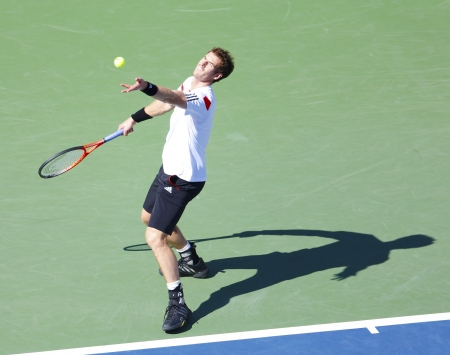 billie: FLUSHING, NY - SEPTEMBER 5    Professional tennis player Andy Murray during  quarterfinal match at US Open 2013 against  Stanislas Wawrinka at Billie Jean King National Tennis Center on September 5, 2013 in Flushing, NY