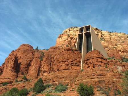 catholic chapel: Chapel of the Holy Cross in Sedona, Arizona  The Chapel of the Holy Cross is a Roman Catholic chapel built into the mesas of Sedona which was inspired by sculptor Marguerite Brunswig Staude