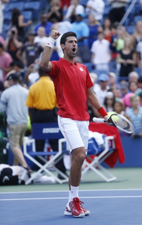 serbia: FLUSHING, NY - SEPTEMBER 3  Professional tennis player Novak Djokovic celebrating victory after fourth round match at US Open 2013 against Marcel Granollers  at Billie Jean King National Tennis Center on September 3, 2013 in Flushing, NY