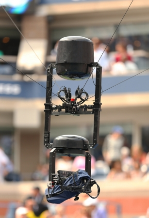 FLUSHING, NY - AUGUST 26  Spidercam aerial camera system used for broadcast from Arthur Ashe Stadium at the Billie Jean King National Tennis Center during US Open 2013 on August 26, 2013 in Flushing