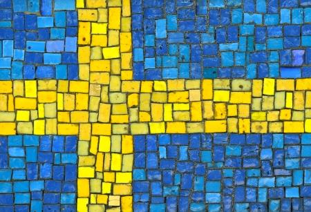 bandera de suecia: Bandera de Suecia en mosaico