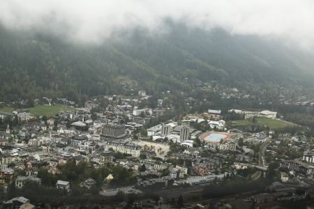 best travel destinations: Aerial view of Chamonix, France  Stock Photo