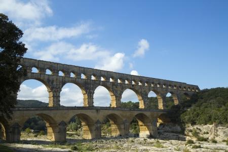 build in: The Pont du Gard, ancient Roman aqueduct bridge build in the 1st century AD