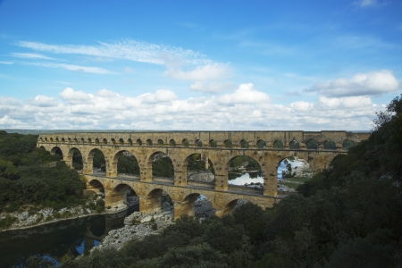 1st century ad: Aerial view of the Pont du Gard, ancient Roman aqueduct bridge build in the 1st century AD  Stock Photo