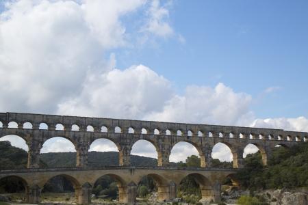 1st century ad: The Pont du Gard, ancient Roman aqueduct bridge build in the 1st century AD