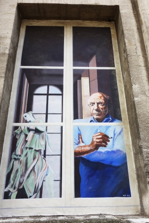 AVIGNON, FRANCE - OCTOBER 13, 2013  Window mural in Avignon on October 13, 2013   Avignon is a showcase of arts and culture, the fame of its annual theater festival, known as the Festival d Avignon