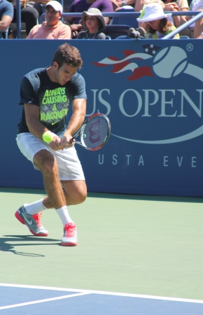 billie: FLUSHING, NY - AUGUST 25   Grand Slam champion and professional tennis player Juan Martin Del Potro practices for US Open 2013 at Billie Jean King National Tennis Center on August  25, 2013 in Flushing, NY Editorial