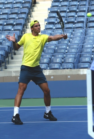 nadal: FLUSHING, NY - AUGUST 29    Twelve  times Grand Slam champion Rafael Nadal practices for US Open 2013 at Arthur Ashe Stadium  at Billie Jean King National Tennis Center on August 29, 2013 in Flushing, NY Editorial