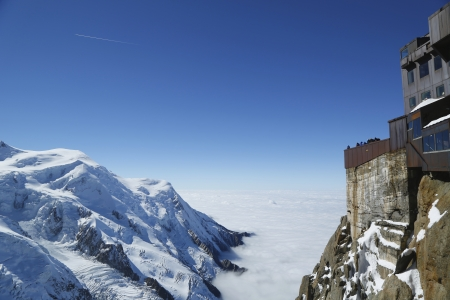 Chamonix terrace overlooking Mont Blanc massif at the mountain top station of the Aiguille du Midi  3842 m  in French Alps