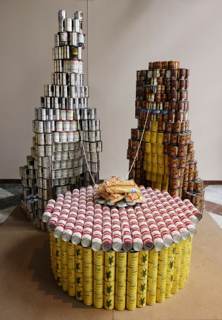 NEW YORK - NOVEMBER 10  Food sculpture presented at 21st Annual NYC Canstruction competition in New York on November 10, 2013  Teams build large scale sculptures out of canned food for food drive