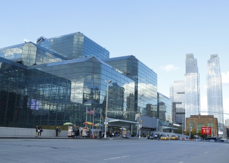 NEW YORK - OCTOBER 24  Javits Convention Center in Manhattan on October 24, 2013  The convention center has a total area space of 1 800 000 square ft and has 840 000 square ft of total exhibit space Stock Photo - 23851053
