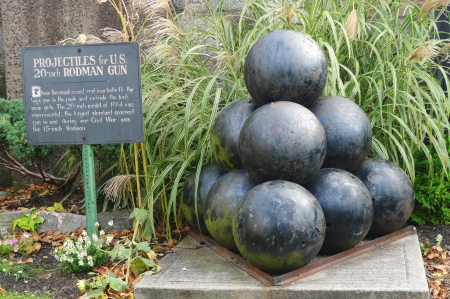 Projectiles for US 20-inch Rodman cannon at the historic Fort Hamilton in Brooklyn  20-inch Rodman cannon was the largest muzzle-loading cannon ever built