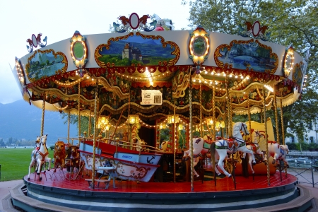 ANNECY, FRANCE - OCTOBER 9  Traditional fairground carousel in Annecy on October 9, 2013   Annecy is the capital of the department of Haute-Savoie and located on the northern tip of Lake Annecy