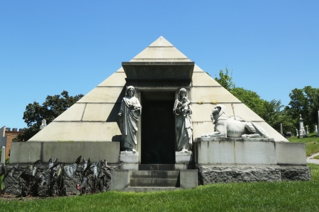 greenwood: BROOKLYN, NY - JUNE 4  Mausoleum at the Green-Wood cemetery in Brooklyn on June 4, 2013  The cemetery was granted National Historic Landmark status in 2006 by the U S  Department of the Interior