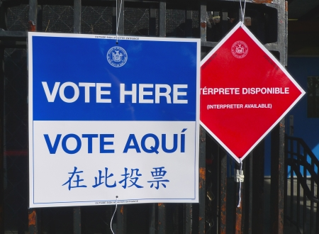 prohibits: NEW YORK - NOVEMBER 5  Signs at the voting site in New York on November 5, 2013 The Voting Rights Act of 1965 is a national legislation in the United States that prohibits discrimination in voting