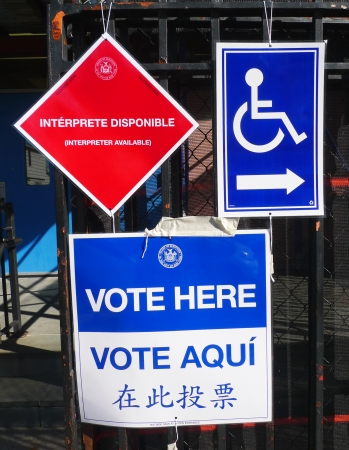 NEW YORK - NOVEMBER 5  Signs at the voting site in New York on November 5, 2013 The Voting Rights Act of 1965 is a national legislation in the United States that prohibits discrimination in voting
