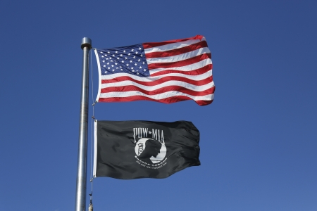 アメリカ人と捕虜ミア フラグ 写真素材
