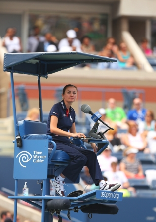 king chair: NEW YORK - AUGUST 26   Chair umpire during first round match between Venus Williams and Kirsten Flipkens at US Open 2013  at Billie Jean King National Tennis Center on August 26, 2013 in New York