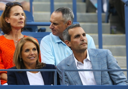NEW YORK - AUGUST 27  TV anchor Katie Couric during  match between six times Grand Slam champion Novak Djokovic and Ricardas Berankis at US Open 2013 at Billie Jean King National Tennis Center on August 27, 2013 in New York